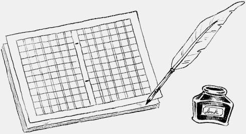 物語の原稿とペン